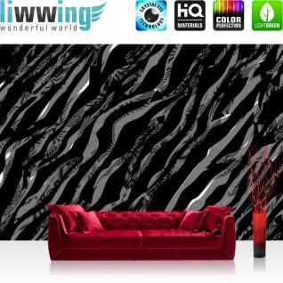 liwwing Vlies Fototapete 300x210 cm PREMIUM PLUS Wand Foto Tapete Wand Bild Vliestapete - Illustrationen Tapete Abstrakt Wellen schwarz-weiß Muster grau - no. 361