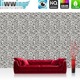 liwwing Vlies Fototapete 416x254cm PREMIUM PLUS Wand Foto Tapete Wand Bild Vliestapete - Steinwand Tapete Steine Kieselsteine Muster schwarz weiß - no. 1305
