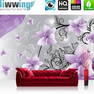 liwwing Vlies Fototapete 416x254cm PREMIUM PLUS Wand Foto Tapete Wand Bild Vliestapete - Blumen Tapete Blüten Blätter Orchideen Schnörkel lila - no. 2223