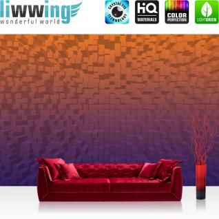 liwwing Vlies Fototapete 416x254cm PREMIUM PLUS Wand Foto Tapete Wand Bild Vliestapete - Illustrationen Tapete Illustration Würfel Rechtecke MusterDesign lila - no. 2992