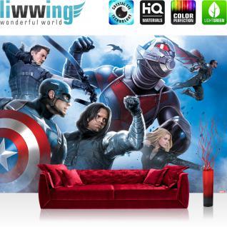 liwwing Fototapete 368x254cm PREMIUM Wand Foto Tapete Wand Bild Papiertapete - Marvel - AVENGERS Tapete The Avengers Captain America Clint Barton bunt - no. 3541