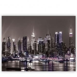 Leinwandbild Skyline Nacht Lichter Hafen Fluss Tower Häuser | no. 1965 - Vorschau 2