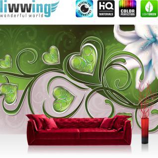 liwwing Vlies Fototapete 312x219cm PREMIUM PLUS Wand Foto Tapete Wand Bild Vliestapete - Kunst Tapete Blumen Blüten Orchidee Herzen Liebe grün - no. 2584