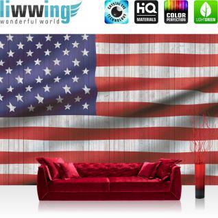 liwwing Vlies Fototapete 312x219cm PREMIUM PLUS Wand Foto Tapete Wand Bild Vliestapete - Geographie Tapete USA Amerika Flagge Streifen Sterne rot - no. 2624
