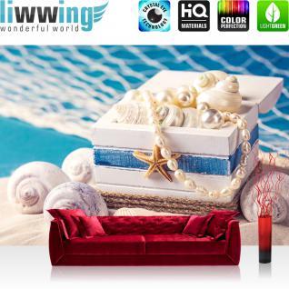 liwwing Vlies Fototapete 312x219cm PREMIUM PLUS Wand Foto Tapete Wand Bild Vliestapete - Strand Tapete Muscheln Perlen Schatztruhe Meer Strand blau - no. 3096