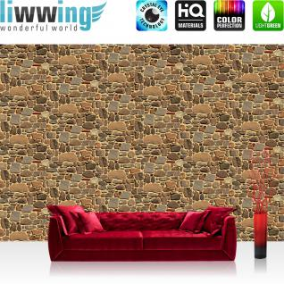 liwwing Vlies Fototapete 208x146cm PREMIUM PLUS Wand Foto Tapete Wand Bild Vliestapete - Steinwand Tapete Steine Steinwand Steinoptik braun - no. 2559