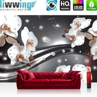 liwwing Vlies Fototapete 300x210 cm PREMIUM PLUS Wand Foto Tapete Wand Bild Vliestapete - Natur Tapete Wiese Blumen Licht Bogen Baum lila - no. 685