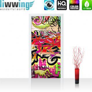 liwwing Vlies Türtapete 100x211 cm PREMIUM PLUS Tür Fototapete Türposter Türpanel Foto Tapete Bild - Kinderzimmer Graffiti Streetart - no. 220