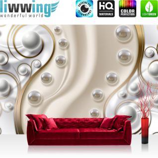 liwwing Vlies Fototapete 312x219cm PREMIUM PLUS Wand Foto Tapete Wand Bild Vliestapete - Illustrationen Tapete Perlen Muster Edel verspielt Ranke Formen gold - no. 1521