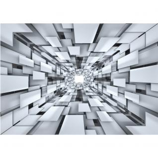 liwwing Vlies Fototapete 416x254cm PREMIUM PLUS Wand Foto Tapete Wand Bild Vliestapete - 3D Tapete Abstrakt Muster Rechtecke Formen schwarz weiß - no. 2398 - Vorschau 2