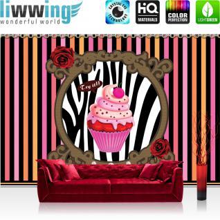 liwwing Vlies Fototapete 312x219cm PREMIUM PLUS Wand Foto Tapete Wand Bild Vliestapete - Kulinarisches Tapete Cupcake Rosen Streifen Kette Kirsche Muster Kunst pink - no. 2652