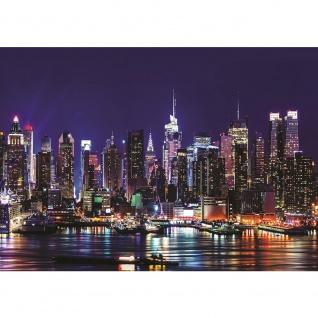Fototapete New York Tapete Manhattan Skyline Nacht bunt | no. 2771