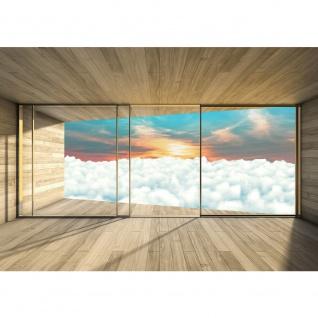 Fototapete Holz Tapete Holzoptik Himmel Wolken Fenster Rahmen Sonnenaufgang beige | no. 2156