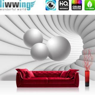 liwwing Vlies Fototapete 312x219cm PREMIUM PLUS Wand Foto Tapete Wand Bild Vliestapete - 3D Tapete Bogen Tunnel Kugeln weiß - no. 3254
