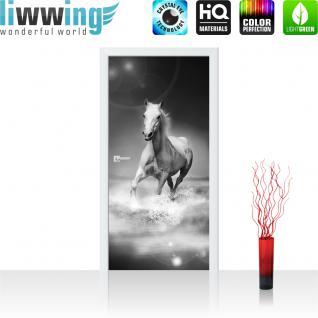 liwwing Türtapete selbstklebend 91x211 cm PREMIUM PLUS Tür Fototapete Türposter Türpanel Foto Tapete Bild - Pferd Wasser - no. 1015