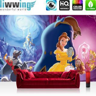 liwwing Vlies Fototapete 208x146cm PREMIUM PLUS Wand Foto Tapete Wand Bild Vliestapete - Disney Tapete Die Schöne und das Biest Cartoons Kindertapete Mädchen bunt - no. 1243