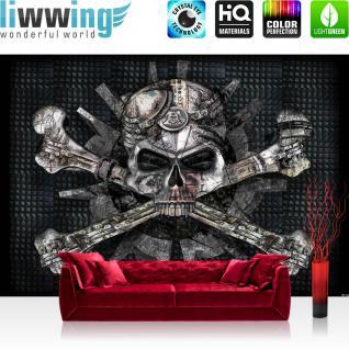 liwwing Vlies Fototapete 416x254cm PREMIUM PLUS Wand Foto Tapete Wand Bild Vliestapete - Illustrationen Alchemy Tapete Totenkopf Steam Punk Metal Metall grau - no. 3499