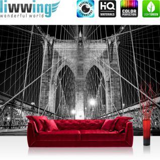 liwwing Fototapete 254x168 cm PREMIUM Wand Foto Tapete Wand Bild Papiertapete - Architektur Tapete Brücke Architektur Seile Weg Licht Steine anthrazit - no. 2445