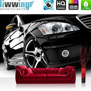 liwwing Vlies Fototapete 312x219cm PREMIUM PLUS Wand Foto Tapete Wand Bild Vliestapete - Autos Tapete Auto Modern Reifen Lichter Felgen Limousine schwarz - no. 2308