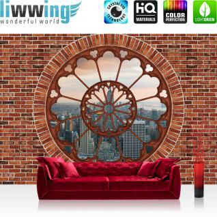 liwwing Vlies Fototapete 416x254cm PREMIUM PLUS Wand Foto Tapete Wand Bild Vliestapete - Steinwand Tapete Steinoptik Steine Fenster New York Tower Skyline braun - no. 2488