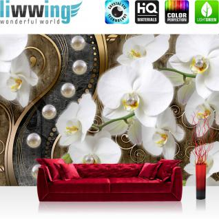 liwwing Vlies Fototapete 416x254cm PREMIUM PLUS Wand Foto Tapete Wand Bild Vliestapete - Orchideen Tapete Blume Pflanzen Perlen Illustration Ornamente verspielt Holz braun - no. 2026