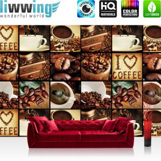 liwwing Fototapete 368x254 cm PREMIUM Wand Foto Tapete Wand Bild Papiertapete - Kaffee Tapete Fotoreihe Kaffee Bohnen Trinken braun - no. 3142