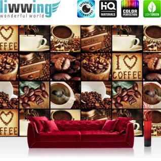 liwwing Vlies Fototapete 312x219cm PREMIUM PLUS Wand Foto Tapete Wand Bild Vliestapete - Kaffee Tapete Fotoreihe Kaffee Bohnen Trinken braun - no. 3142