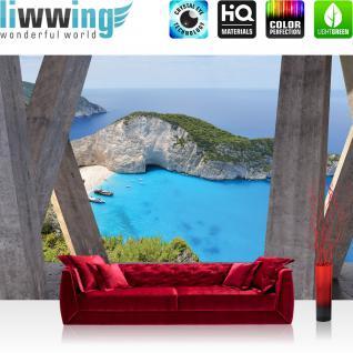 liwwing Vlies Fototapete 104x50.5cm PREMIUM PLUS Wand Foto Tapete Wand Bild Vliestapete - Architektur Tapete Terrasse Balkon Bucht Meer Strand Klippen grau - no. 2930