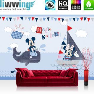 liwwing Vlies Fototapete 416x254cm PREMIUM PLUS Wand Foto Tapete Wand Bild Vliestapete - Disney Tapete Micky Maus Hello Sailor Wal Segel Boot Mickey Mouse Cartoon blau - no. 3166