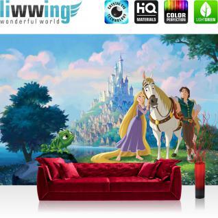 liwwing Fototapete 254x168 cm PREMIUM Wand Foto Tapete Wand Bild Papiertapete - Disney Tapete Rapunzel Märchen Turm Prinz Cartoon Illustration bunt - no. 1858