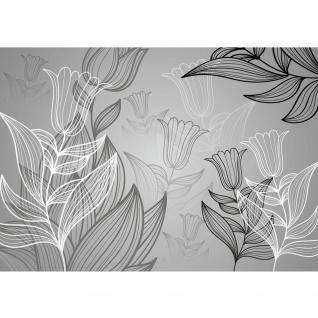 Fototapete Blumen Tapete Abstrakt Blumen Blüte Tulpen Kunst Illustrationen edel schwarz - weiß | no. 1104