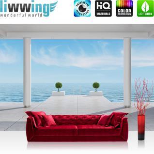liwwing Vlies Fototapete 104x50.5cm PREMIUM PLUS Wand Foto Tapete Wand Bild Vliestapete - Architektur Tapete Terrasse Balkon Säulen Meer Treppe Wolken weiß - no. 2951