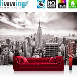 liwwing Fototapete 254x168 cm PREMIUM Wand Foto Tapete Wand Bild Papiertapete - Skylines Tapete Building Tower Skyline City grau - no. 690