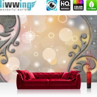 liwwing Vlies Fototapete 350x245 cm PREMIUM PLUS Wand Foto Tapete Wand Bild Vliestapete - 3D Tapete Abstrakt Tribal Schwung Schnörkel Sterne Kreise Diamant 3D grau - no. 892