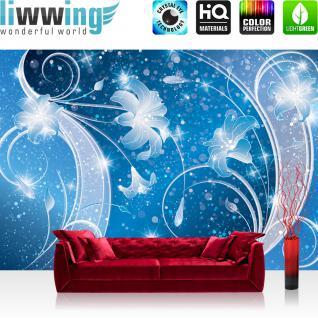 liwwing Vlies Fototapete 416x254cm PREMIUM PLUS Wand Foto Tapete Wand Bild Vliestapete - Ornamente Tapete Blume Blüte Blätter Ranke Sterne blau - no. 2953