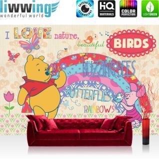 liwwing Fototapete 368x254 cm PREMIUM Wand Foto Tapete Wand Bild Papiertapete - Disney Tapete Disney - Winnie Pooh - Ferkel Kindertapete Cartoon Schmetterling gelb - no. 1123