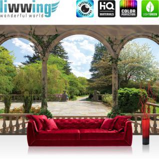 liwwing Vlies Fototapete 312x219cm PREMIUM PLUS Wand Foto Tapete Wand Bild Vliestapete - Landschaft Tapete Garten Bäume Blumen Säulen Bögen grün - no. 2629