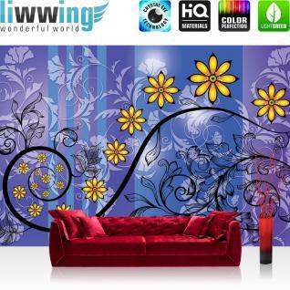 liwwing Vlies Fototapete 312x219cm PREMIUM PLUS Wand Foto Tapete Wand Bild Vliestapete - Blumen Tapete Blüten Blätter Kunst Schnörkel Design lila - no. 2866