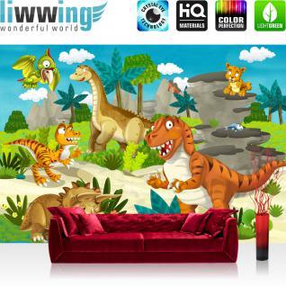 liwwing Vlies Fototapete 350x245 cm PREMIUM PLUS Wand Foto Tapete Wand Bild Vliestapete - MY FIRST DINOS - Kindertapete Kinderzimmer Dino Dinosaurier Urzeit Trex - no. 119