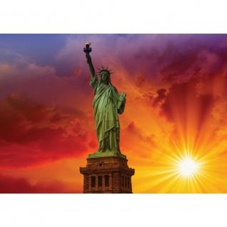 Fototapete USA Tapete Freiheitsstatue Sonne Wolken Statue Amerika orange | no. 1454