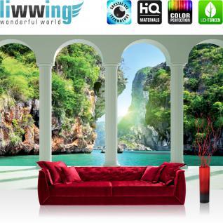 liwwing Fototapete 254x168 cm PREMIUM Wand Foto Tapete Wand Bild Papiertapete - Meer Tapete Paradies Meer Felsen Wasserfall Säulen Bogen blau - no. 1854