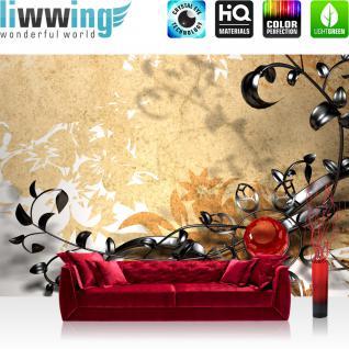 liwwing Vlies Fototapete 200x140 cm PREMIUM PLUS Wand Foto Tapete Wand Bild Vliestapete - METAL FLOWER ORNAMENTS - Orchidee Blumen Blumenranke Metal Beige Natur Pflanzen Abstrakt - no. 102