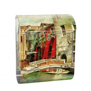 Edelstahl Wandbriefkasten XXL mit Motiv & Zeitungsrolle   Venedig Kanal Italien bunt   no. 0055