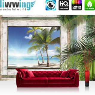 liwwing Fototapete 254x168 cm PREMIUM Wand Foto Tapete Wand Bild Papiertapete - Meer Tapete Holzwand Holz Fenster Palme Strand Meer blau - no. 1321