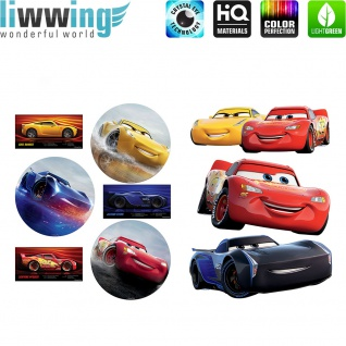 Wandsticker Disney Cars - No. 4779 Wandtattoo Sticker Auto Kindersticker Lightning McQueen Nitro Jungen