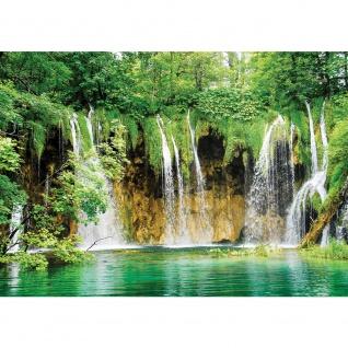 Fototapete Natur Tapete Wasserfall See Bäume Blätter grün | no. 1617