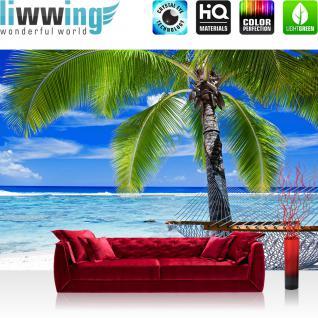 liwwing Fototapete 368x254 cm PREMIUM Wand Foto Tapete Wand Bild Papiertapete - Meer Tapete Strand Palme Wolken Wellen Hängematte Paradies blau - no. 1444