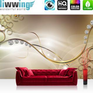 liwwing Fototapete 368x254 cm PREMIUM Wand Foto Tapete Wand Bild Papiertapete - Kunst Tapete Diamanten Kreise Linien Schnörkel gold - no. 2155