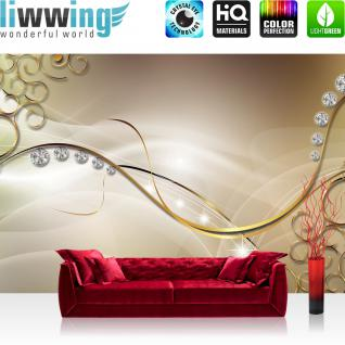 liwwing Vlies Fototapete 104x50.5cm PREMIUM PLUS Wand Foto Tapete Wand Bild Vliestapete - Kunst Tapete Diamanten Kreise Linien Schnörkel gold - no. 2155