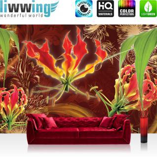 liwwing Vlies Fototapete 104x50.5cm PREMIUM PLUS Wand Foto Tapete Wand Bild Vliestapete - Orchideen Tapete Orchidee Blume Blüte Blätter Pflanze Ranke rot - no. 2353